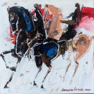 Cavalli, dipinto su tela